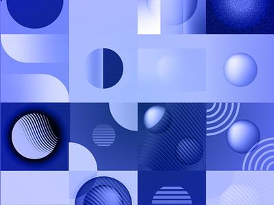 Circle Study—Blue icon grid pattern geometric art geometric design texture branding 2019 vector art freelance designer color illustration illustrator vector design flat