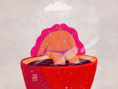 Rainy illustration💜