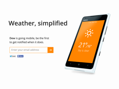 Dew on mobile - coming soon dew flat ui simple weather app coming soon mobile