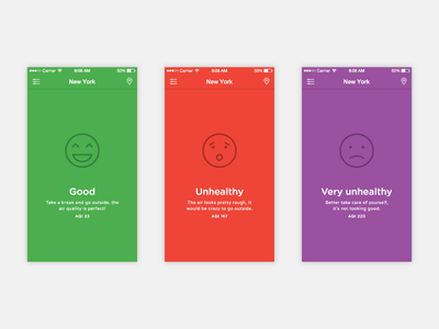 Airbient Current air quality airbient ui ux screens simple colorful air quality