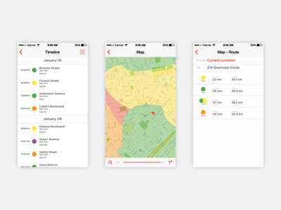 Airbient Timeline, map and routes ui ux screens simple colorful timeline route map