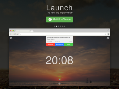 Launch - Chrome extension new tab simple teaser ui extension chrome