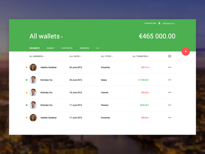 Financial platform - payments wallets material design simple ui platform financial