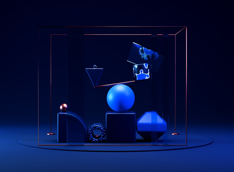 Balance cycles blue copper experimental balance scene 3d blender