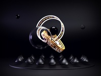 Intertwined Rings 3d bubble glass rings blender