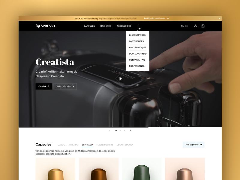 Nespresso.com Redesign carrousel slider black gold creatista capsules ux responsive website redesign coffee nespresso