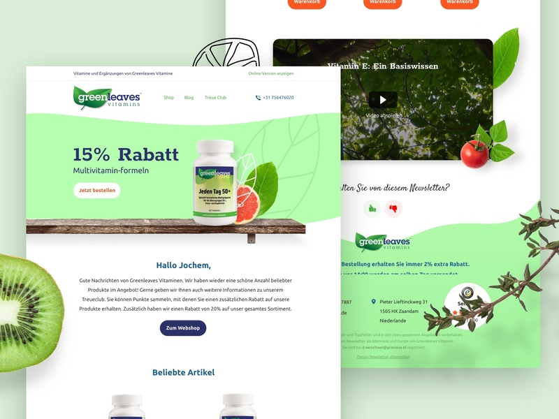 Greenleaves E-mail newsletter email marketing vitamins nature leaves green marketing mail mastertemplate email design email