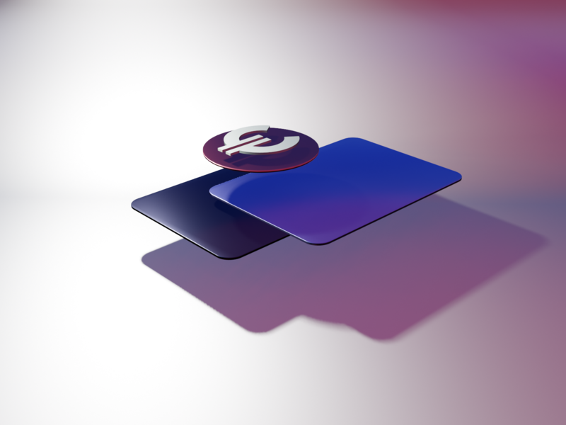 Card Visual cards shadows lighting blender 3d euro to card add value