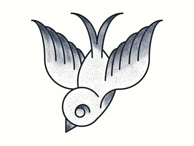 Tattoo Dove illustrator adobe vector vector art stippling stipple black and white wildlife nature birds bird tattoo style traditional tattoo art tattoos dove tattoo