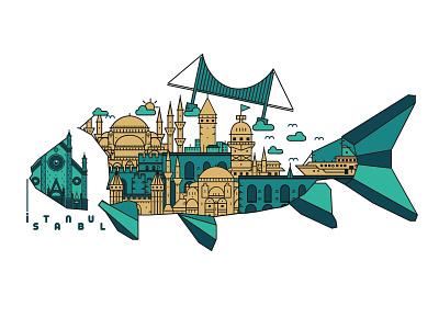 Istanbul illustrations illustrator minimal design flat icon vector graphicdesign landmark istanbul illustration art illustration