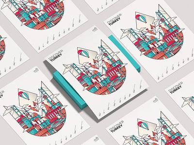 Turkey Illustration Poster illustrator colors branding citylogo icon graphicdesign flat art line vector illustration turkey poster