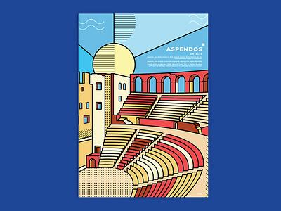 Aspendos Poster - Illustration cityscape illustration art design vector vector illustration graphicdesign line illustration landmark flat branding posters illustrator