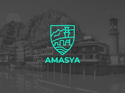 City Logo - Amasya brand design landmark typography logo citylogo vector icon graphicdesign flat line city logo city branding