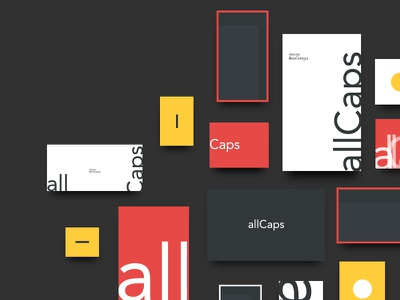 Brand shapes typography all caps yellow black white red brand