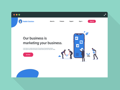 Landing Page - Rabbit Solution Daily UI Challenge 003 uidesign ui challange ui 100day ui 100 website illustration android animation branding ux flat art director we design minimal ui web ux challenge challange design uichallange