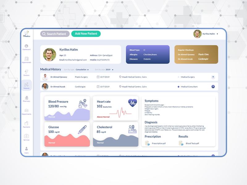 Medical App - Patient Profile website web app animation flat icon minimal sketch hospital medical care medical illustration ui challange dashboard design system dashboard ux ui 100 design ui