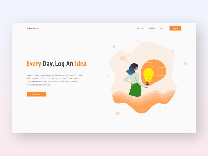 DailyIdea Landing Page Concept