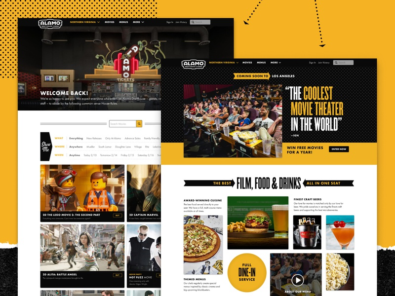 The New Drafthouse.com ux design branding design system alamo drafthouse movies