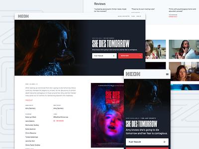 NEON Website 2020 web design responsive mobile web webflow design system branding movies