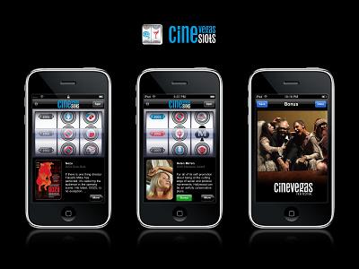 CineSlots App 2009 app ui cinevegas ux logo branding skeumorphic film festival las vegas slot machine ios 3 ios movies