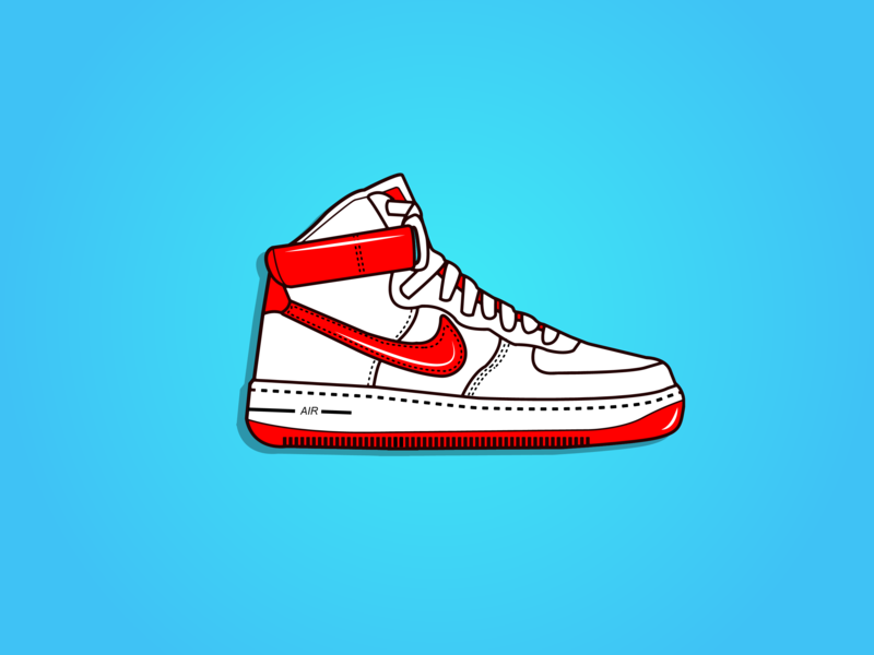 buy popular 212e3 b0239 Nike Air Force 1 ui logo flat branding icon design illustration art drawing  colourful cartoon vector