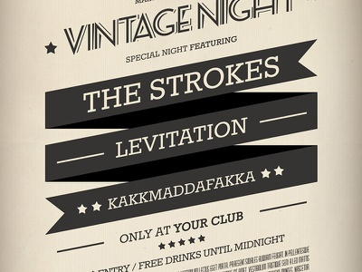Vintage Flyer / Poster 2 party poster indie psd print vintage typography ribbon retro post old music gig flyer event concert band badge artist album