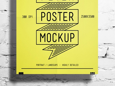 Flyer / Poster Mockup sketch quality print ready print poster post pin picture photorealistic photo paper modern mockup high hanging flyer elegant closeup artwork psd