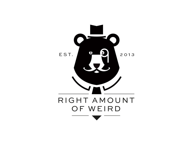 Right Amount Of Weird monochrome weird crest logo identity bear monocle mustache business animal