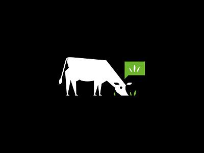 Cow Logo farming grass cow vector design character illustration animal symbol icon identity branding logo