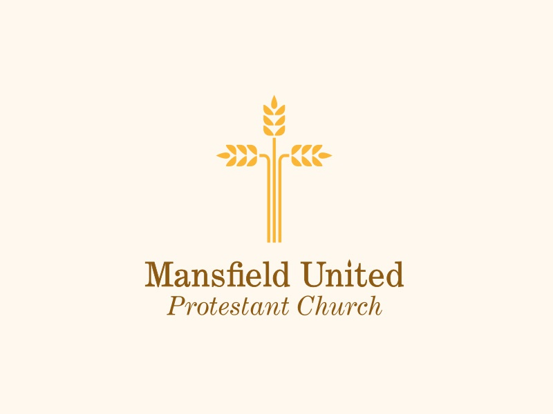 Mansfield United Protestant Church jesus christ religion logo identity branding church cross wheat christianity minimal