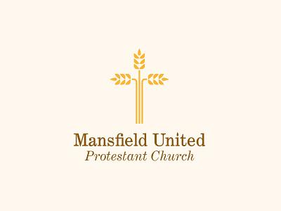 Mansfield United Protestant Church jesus christ religion logo identity branding church cross wheat christianity minimal