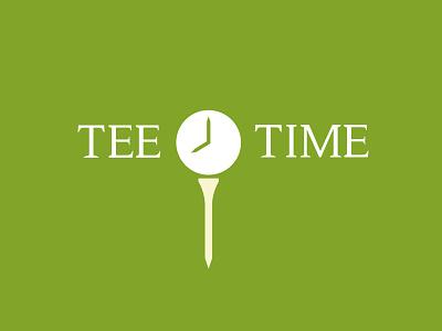 Tee Time blog lessons symbol clock time tee golf branding icon logo