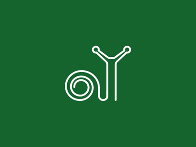 Snail Logotype cracking continuous garden mark symbol identity logo logotype monogram snail