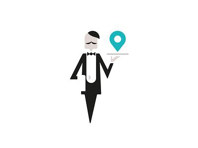 Butler Logo/Mascot space negative restaurant locator pin map french character mascot logo waiter butler