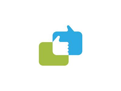 Chat Logo WIP speech space negative application like thumb communication bubble chat icon branding logo