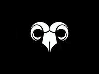 Ram events writer skull horns nib pen branding icon logo animal head ram