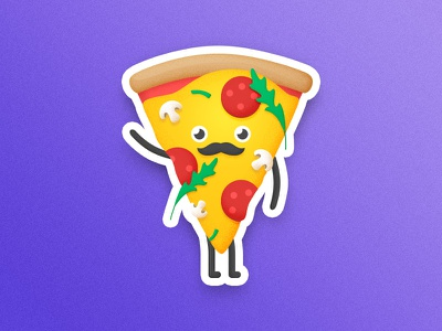 Baffi Pizza slice vinnys sticker mule purple illustration cheese mushrooms pepperoni pizza playoff contest sticker