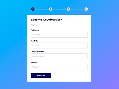 Multi Step Form register sign up interface web design ux ui form