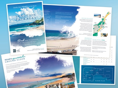 Noah's on the Beach functions brochure hotels brochure brochure design branding graphic design