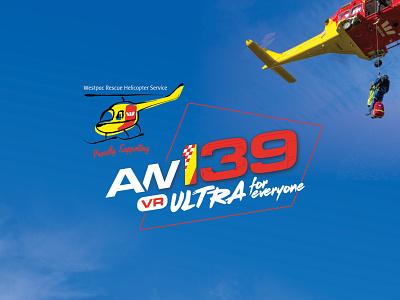 AW139 Ultra for Everyone logo helicopter running sport race logo design design logo event branding graphic design