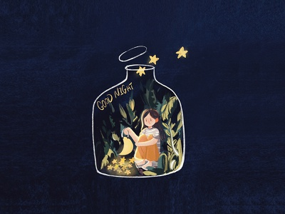 Good night procreate 插画 illustration