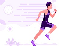 Running Men Athletic Sport vector illustration