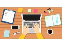 Writer Workplace Vector Illustration.