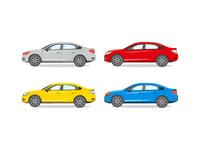Sedan Different Color Vector Illustration.