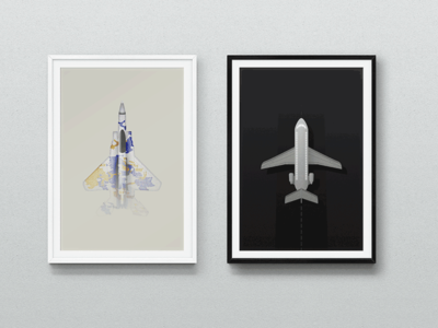Wings wings airplanes jet illustration framed