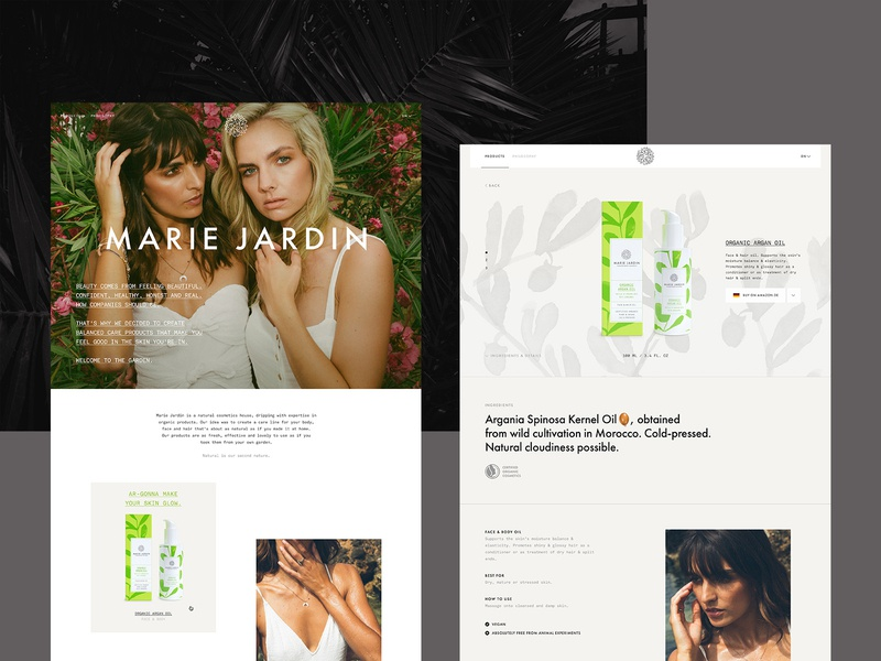 Marie Jardin product website beauty organic pattern grid product page natural cosmetics