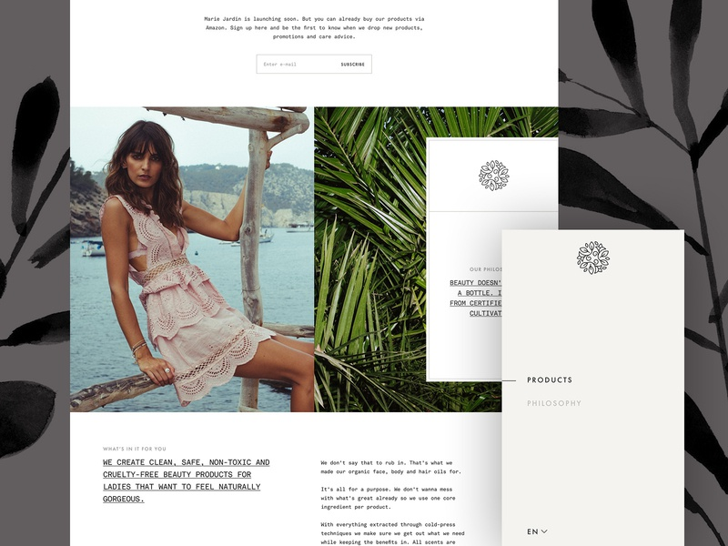 Marie Jardin Details mobile navigation product website product page pattern organic natural grid cosmetics beauty