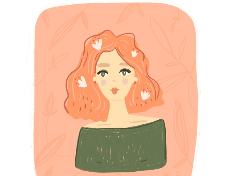 Spring girl girl character flat design editorial art procreate illustration art illustration