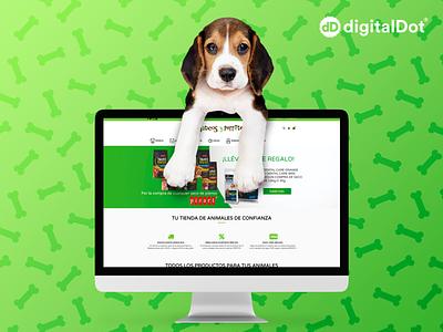 Diseño tienda online Gaticos y Perretes website mascotas verde ordenador hueso perro dog bones mockup computer pattern green online shop pet graphic design web design graphicdesign design webdesign