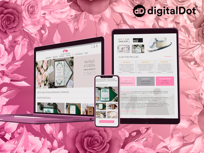 Diseño web Fashion Bodas gradient diseño web diseño gráfico diseño flores rosa pink flowers devices mockup vector website graphic design web design design